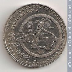 Moneda de 20 pesos, con la imagen de un grabado maya representando el juego de pelota. El juego de pelota, que fue común en todos los pueblos mesoamericanos y que tuvo su origen unos tres mil años antes de Cristo, cumplía entre los mayas una función