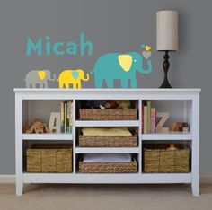 Elephant Decals, Elephant Mommy, Elephant Nursery Wall Decals, Children's Wall Decal,  Vinyl Removable Decal-Set of four
