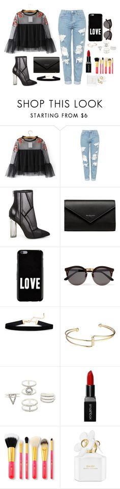 """""""my set for a contest hope i win"""" by megi-queen ❤ liked on Polyvore featuring Topshop, Steve Madden, Balenciaga, Givenchy, Illesteva, Charlotte Russe, Smashbox and Marc Jacobs"""