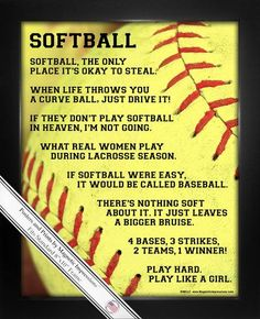 Softball Player Sayings 8x10 Sport Poster Print