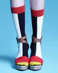 Estelle White Socks, calze di media lunghezza, Bicolor, calzini, le donne abbigliamento