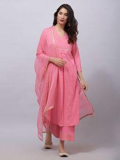 Pink Zari Embroidered Cambric Cotton Kurta with Rogan Printed Ejar Pants and Chiffon Dupatta- Set of 3 Pakistani Fashion Casual, Iranian Women Fashion, Pakistani Dress Design, Pakistani Dresses, Indian Dresses, Indian Outfits, Indian Fashion, Party Wear Dresses, Casual Dresses