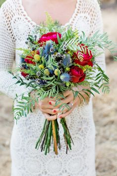 bouquet of roses and thistles