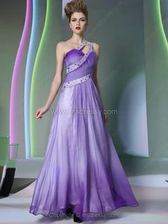 A-line One Shoulder Chiffon Ankle-length Rhinestone Prom Dresses