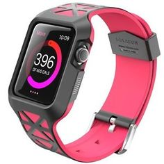 Apple Watch Band 38mm Case Silicone Rubber Wrist Band Replacement Pink / Gray