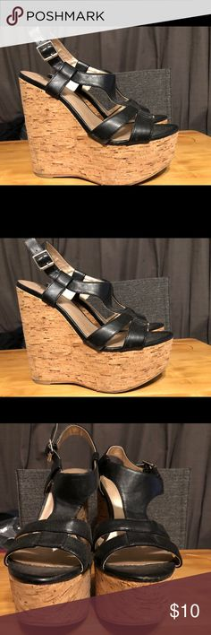 Wedge Black and Cork Forever 21 cork wedges  To be honest, the label is worn out. I am between a 7.5 and 8. I would think these are 7.5, they look a bit smaller than an 8. Because of my uncertainty I will be accepting offers but please be aware of the discrepancy.   Always a free gift with purchase ♥️ Forever 21 Shoes Wedges