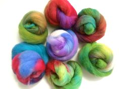 Wool Roving/Spinning Shetland wool  MIXED COLOUR BAG by rosyretro