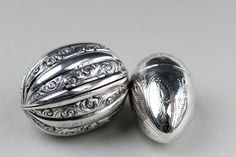 Antique silver nutmeg graters from Gideon Cohen @ www.silvervaultslondon.com