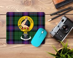 Rubber mouse pad with Armstrong Clan crest and tartan - only from ScotClans