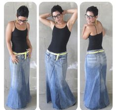mimi g.: Mimi G. Style Tutorial How to make a Maxi Jean Skirt from two pairs of old jeans! Diy Clothing, Sewing Clothes, Modest Clothing, Fashion Sewing, Diy Fashion, Modest Fashion, Mode Jeans, Recycle Jeans, Diy Jeans
