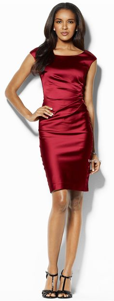 Lauren by Ralph Lauren Dress, Sleeveless Satin Sheath - Macy's  I hope to find this to wear to a holday party.