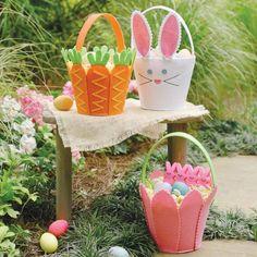 Bunny, Carrot & Tulip Felt Easter Baskets