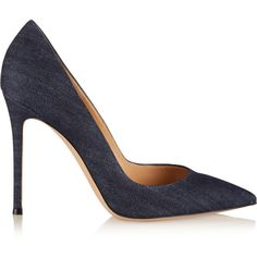 Gianvito Rossi Denim pumps ($700) ❤ liked on Polyvore featuring shoes, pumps, heels, blue, pointy toe shoes, pointed toe pumps, denim shoes, heels & pumps and slip on pumps