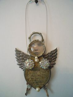 Handmade mixed media angel assemblages