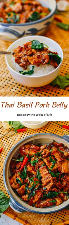 Easy Asian Recipes, Thai Recipes, Quick Recipes, Recipes Dinner, Thai Basil Pork, Steak Dinner Sides, Dinner Dishes, Dinner Menu, Pork Belly Recipes