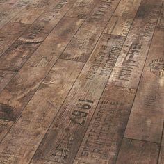 Vintage wine cases as wooden flooring