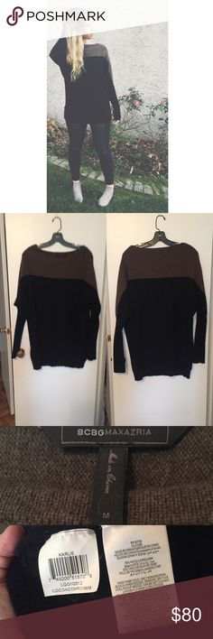 """Karlie Two-Toned Sweater Beautiful BCBGMAXAZRIA Karlie sweater in """"Coca Combo"""". It is made of Wool and Yak. Pre-loved, but in awesome condition! Looks brilliant on! BCBGMaxAzria Sweaters"""