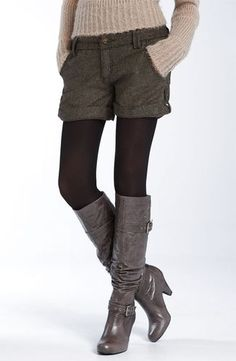 shorts with tights and boots.....would love to be able to pull off this look, think I could with a black or dark grey short
