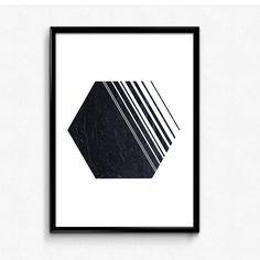 Minimalist poster, Black marble print, Hexagon wall art, Scandinavian modern art, Geometric wall prints by HamptyDamptyArt on Etsy