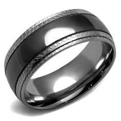 Men's Black & Grey Stainless Steel Wedding Bands Ring - Joy of London Jewels