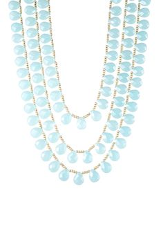 Chalcedony Glass Briolette & Beaded Triple Strand Necklace