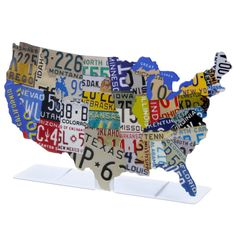 USA License Plate Map Metal Tabletop Sign