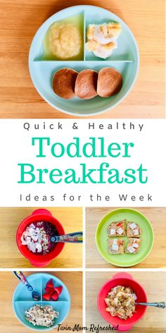 Easy Breakfast Toddler Meal Ideas Easy and simple no cook toddler breakfast ideas for your week. Help make mornings easier and smoother with these quick and healthy breakfast recipes for toddlers or school aged kids! Easy recipes that are healthy! Healthy Toddler Breakfast, Healthy Toddler Meals, Toddler Lunches, Breakfast For Kids, Healthy Breakfast Recipes, Kids Meals, Toddler Food, Healthy Recipes, Cheap Clean Eating