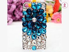Free Phone Case & Sparkly Crystal Flower Style  Bling Gem DIY Deco Kit Decoden Kit Cabochon Deco Kit For DIY Cell Phone iPhone 4G 4S 5 Case on Etsy, $10.50