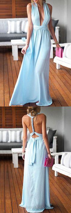 Sheath/Column V-neck Chiffon Floor-length Ruffles Blue Backless Sexy Prom Dresses #DGD020103552