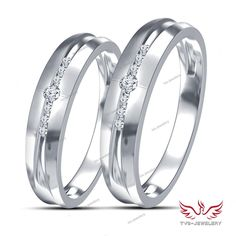 Pure 925 Silver Matching Couple's D/VVS1 Diamond His and Her Promise Band Ring  #tvsjewelery