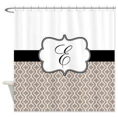 beige black quatrefoil monogram shower curtain