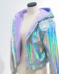2 sides holographic jacket in 2019 Girls Fashion Clothes, Teen Fashion Outfits, Trendy Outfits, Cool Outfits, Holographic Jacket, Holographic Fashion, Holographic Fabric, Kawaii Fashion, Cute Fashion