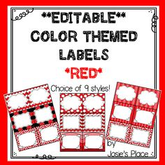 Editable Labels in RED  to match your classroom theme. 9 Styles to choose from! Other colors available!