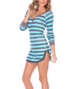 Look at this Honeydew Intimates Taffy Stripe Henley-Dew Sleep Shirt on #zulily today!