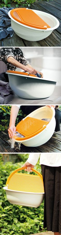 The Easy Basin is a basin/bucket designed to conveniently allow people to hand-wash their clothes. The Basin is large enough to wash up to 2-3 days worth of clothes, while also being small enough to carry. The concavity of the basin holds the clothes and the water/suds, allowing your dirty garments to soak in the soapy water.