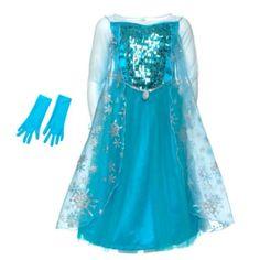 Captura la magia de Elsa, la Reina de las Nieves de Frozen, con este impresionante vestido: corpiño de lentejuelas con cuentas de perlas, adornos de estrás en el cuello, guantes y una capa muy brillante con estampado de copos de nieve.