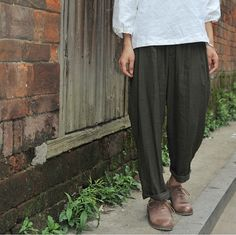 Nostalgic color loose casual trousers Harem Pants cotton and linen trousers pants on Etsy, $55.00