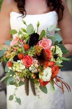 rustic coral and brown wedding bouquet, Color Your Wedding, Sherwin Williams Chip It
