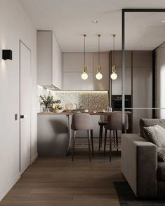 cool Lovely Small Apartment Interior Design Ideas That You Need To Imitate Small Modern Kitchens, Modern Kitchen Interiors, Modern Kitchen Design, Interior Design Kitchen, Modern Interior Design, Small Apartment Interior Design, Small Apartment Furniture, Interior Decorating, Decorating Ideas