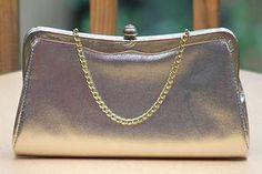 Vintage Handbags - gold metallic evening clutch