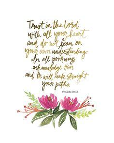 Proverbios 3:5-6 mano Letras impresión del arte por AprylMade