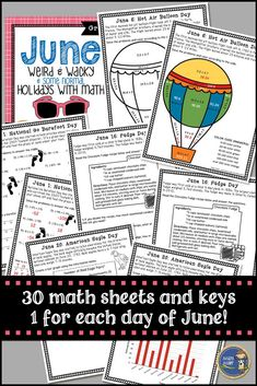 "Summer math packets can be used for summer school or sent home with students for their summer math practice. June Math: Weird and Wacky Holidays includes 30 different math worksheets - one for each day of the month. This summer math pack includes a different ""holiday"" with some facts and some math. $ gr 5-8"