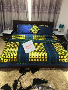 Main colour: blue ankara beddings: 4 sleeping pillow covers( 2 ankara, 2 plain cotton), 2 size 16 throw pillows( can be customised with choice words on request), 1 blue plain cotton bed sheet, 1 ankara duvet( duvet cover or full duvet) African Home Decor, Indian Home Decor, Furniture Covers, Home Decor Furniture, African Interior Design, Bed Sheet Sizes, Luxury Bed Sheets, Duvet Cover Sets, Pillow Covers
