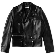 Saint Laurent Classic Biker Jacket ($205) ❤ liked on Polyvore featuring outerwear, jackets, rider leather jacket, moto jacket, zipper leather jacket, leather jackets and yves saint laurent