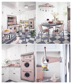 retro - This is from a 2004 Country Living magazine article. I'm mad for the vintage double wall ovens and the matching vintage stove - ALL PINK! Vintage Kitchen, New Kitchen, Kitchen Decor, Kitchen Design, White Kitchen Island, White Kitchen Cabinets, 50s Style Kitchens, Pink Kitchens, Retro Kitchens