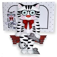 3D On the Shelf Card Kit - Sammy the Cute Little Short Sighted Cat has a Toy…