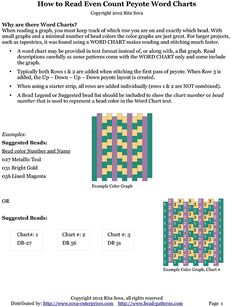 Free Beading Tutorial: How to Read Even Count Flat Peyote Word Charts by Rita Sova at Bead-Patterns.com
