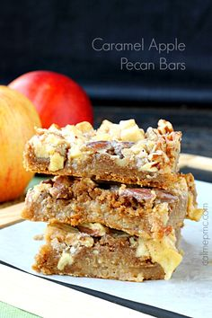 Caramel Apple Pecan Bars are robust in fall flavors. They're rich, dense, and soft. You'll love the fudgy-brownie-like texture, the chewy apples and crunchy pecans, but above all, you'll love how simple these bars are to make!