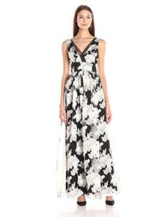 Vera Wang Women's Floral Printed Organza Long, Black Natural, 6 ** Click image to review more details.