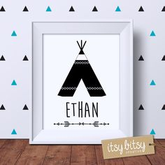 Personalised TeePee Print Kids decor Boys by ItsyBitsyCreative
